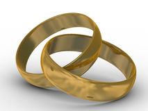 Two gold wedding rings. The 3D image vector illustration