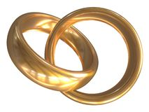 Two gold wedding rings isolated on white. 3d illustration. Two gold wedding rings isolated on white back. 3d illustration royalty free illustration
