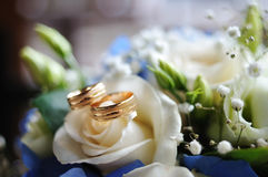 Two gold wedding rings lie on a white rose Royalty Free Stock Photos