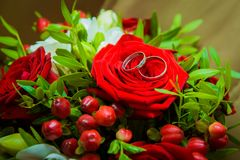 Two gold wedding rings lying on a red rose. Royalty Free Stock Photos