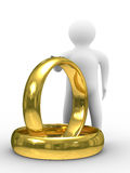Two gold wedding rings and man. Isolated 3D image stock illustration