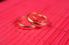 Two gold wedding rings Stock Photo
