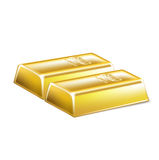 Two golden bars  on white Stock Images