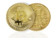 Two golden bitcoins on white background Royalty Free Stock Photography