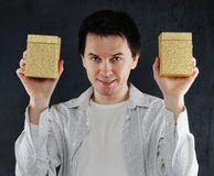 Two golden boxes. Stock Photography