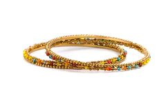 Two golden bracelets Stock Photo