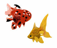 Two golden carps. Two golden carp variations one red and one golden Vector Illustration