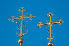 Two Golden Christian Orthodox cross on the Church, close-up Stock Image