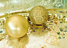 Two golden Christmas balls Royalty Free Stock Photos