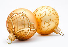 Two golden christmas balls isolated Stock Image