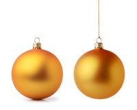Two golden Christmas balls Royalty Free Stock Photography
