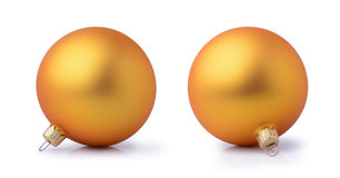 Two golden Christmas balls Stock Images
