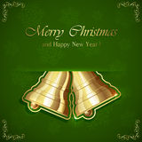 Two golden Christmas bells Stock Photography