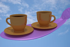 Two golden coffee cups and blue sky. 3D rendering of two golden coffee cups on a pink something and a real world picture of a blue sky with some white clouds as stock illustration