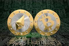 Two golden coins - Bitcoin and Ethereum Stock Photo