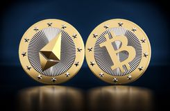 Two golden coins - Bitcoin and Ethereum Royalty Free Stock Images