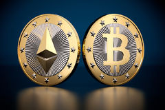Two golden coins - Bitcoin and Ethereum Stock Image
