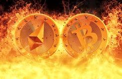 Two golden coins - Bitcoin and Ethereum Stock Photos