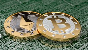 Two golden coins - Bitcoin and Ethereum Stock Images