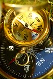 Two golden compasses Royalty Free Stock Photos