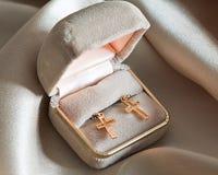 Two golden crosses. Stock Image