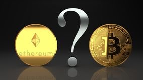 Two golden cypto currency coins, ethereum and bitcoin, with a big question mark to symbolize questions about the money future. Ethereum and bitcoin, eth and btc Royalty Free Stock Photography