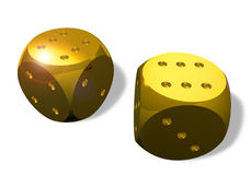 Two Golden Dice Stock Image