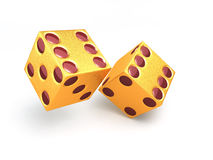 Two golden dice. On a white background Stock Image