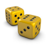 Two golden dice. Two isolated golden dice on white Stock Photos