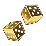 Two Golden Dice Cubes on White Background. Vector Royalty Free Stock Photo