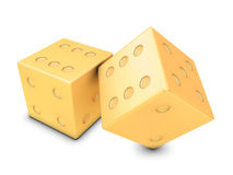 Two golden dices Royalty Free Stock Images