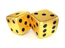 Two golden dices Royalty Free Stock Photo