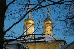 Two golden  domes of Orthodox Church Stock Photos