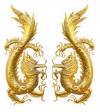 Two Golden Dragons face to face of each other. The dragons isolated on white background stock photo