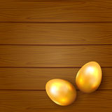 Two golden Easter eggs Stock Photos