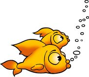 Two golden fish. Fish 09 - High detailed illustration - two golden fish Stock Photo