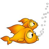 Two golden fish. Fish 09 Two golden fish - Highly detailed and coloured cartoon illustration Stock Photo