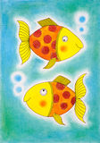 Two golden fish, child's drawing, watercolor painting. On paper Stock Images