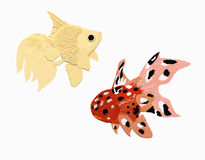 Two golden fish. Variations on white background Royalty Free Illustration