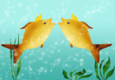 Two Golden Fishes Stock Photo