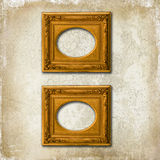 Two golden frames on a grunge wall. Two golden baroque frames on a light grunge deteriorated wall stock image
