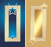 Two golden frames with shining stars Royalty Free Stock Photography