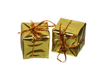 Two golden gift boxes Stock Images