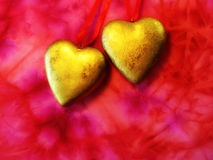 Two golden heart Stock Photography