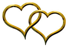 Two golden hearts Stock Image
