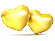 Two golden hearts. 3D render. Illustration isolated on white background Royalty Free Stock Images