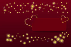 Two golden hearts frames on the red rectangle Stock Photo
