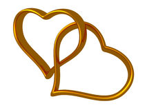 Two golden hearts linked together Royalty Free Stock Image