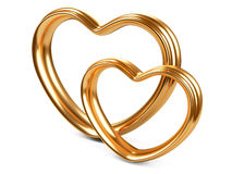 Two golden hearts shape Royalty Free Stock Photo