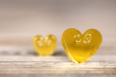 Two Golden Hearts Royalty Free Stock Photos